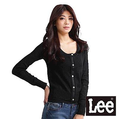 Lee 修身圓領開襟毛衣
