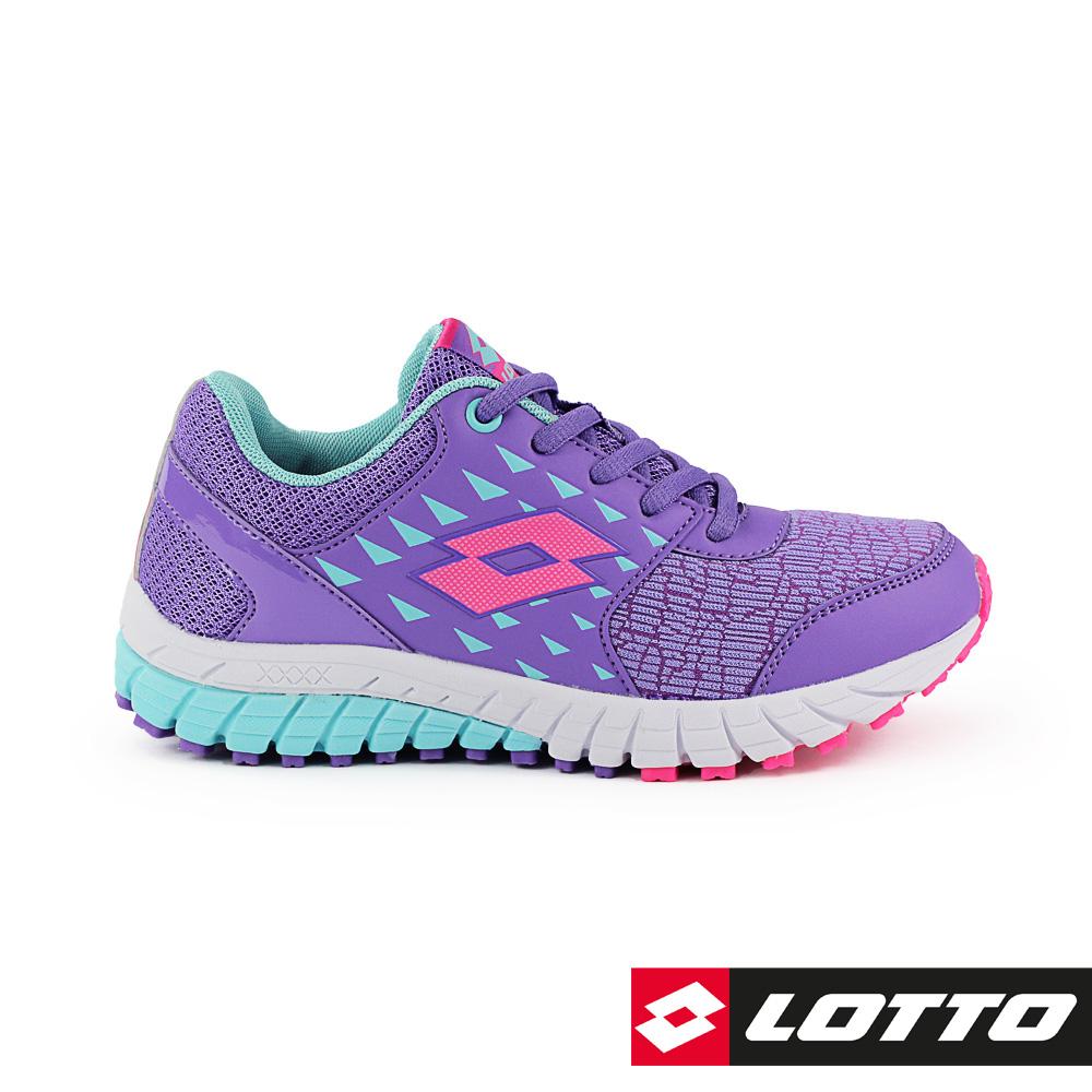 LOTTO 義大利 童 雙色動力 雙密度避震跑鞋(紫)