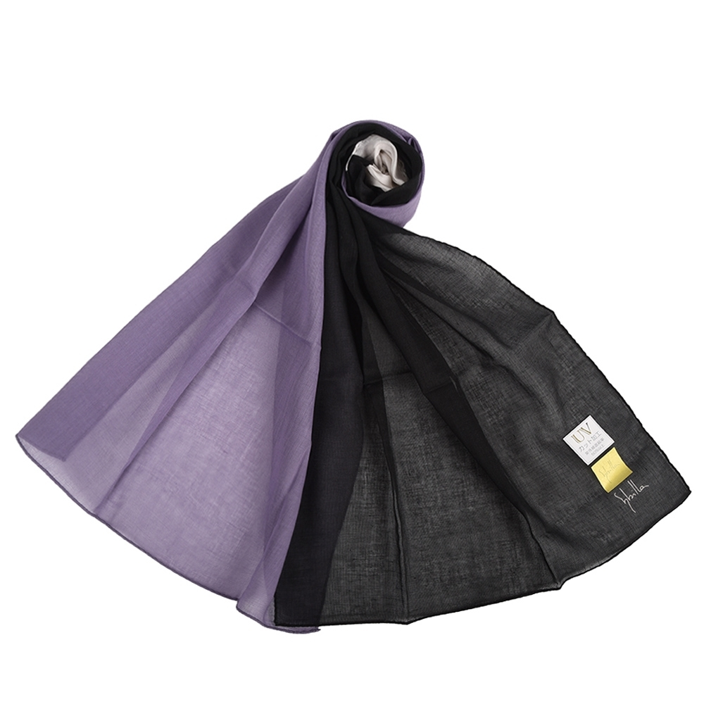 Sybilla 多色拼接純綿抗UV長型薄圍巾-黑/紫/白