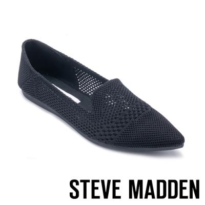 STEVE MADDEN-REPORT 清新雕花鏤空尖頭平底鞋-黑色