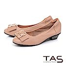 TAS 蝴蝶結飾扣素面羊皮娃娃鞋-質感膚
