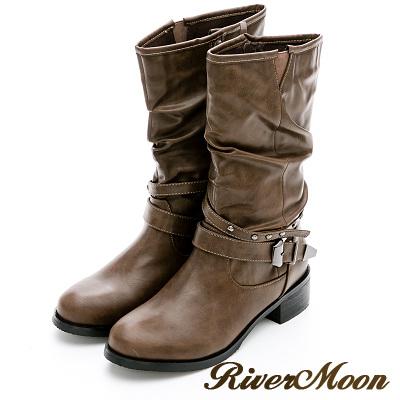 River&Moon加大尺碼-個性鉚釘皮帶中統騎士靴-灰