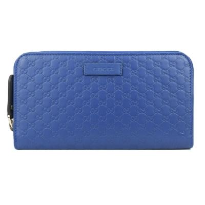 GUCCI 經典Guccissima GG壓紋牛皮拉鍊長夾(藍)