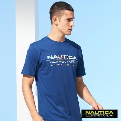Nautica COMPETITION男裝旗語LOGO圖騰短袖T恤-藍