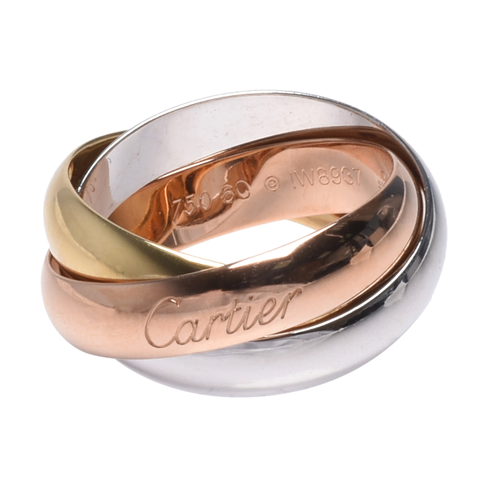 Cartier TRINITY DE CARTIER 18K寬版三色三環戒