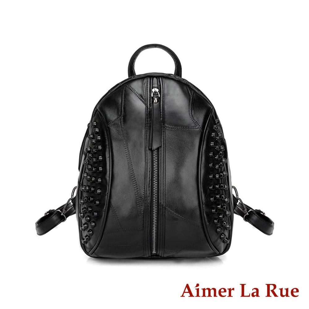 Aimer La Rue 閨密出遊羊皮後背包-黑色(快) @ Y!購物