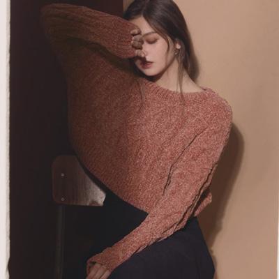 AIR SPACE LADY 經典短版麻花針織毛衣(粉紅)