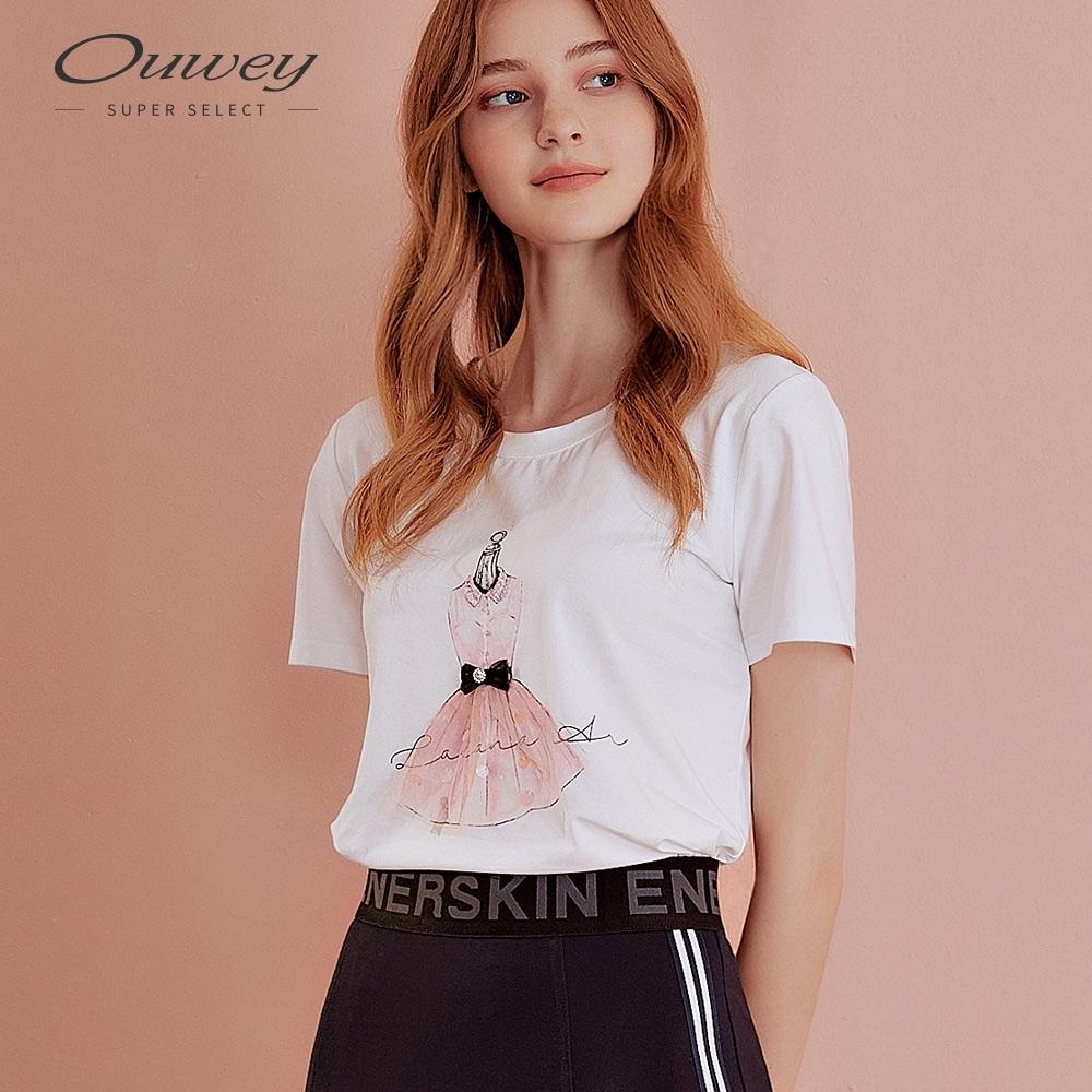 OUWEY歐薇 甜美洋裝膠印棉質上衣(白)