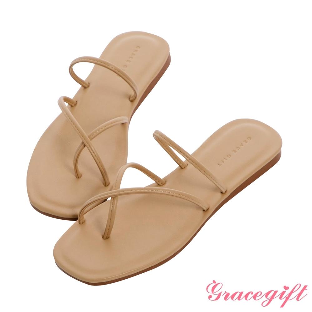 Grace gift-交叉套趾平底涼拖鞋 杏