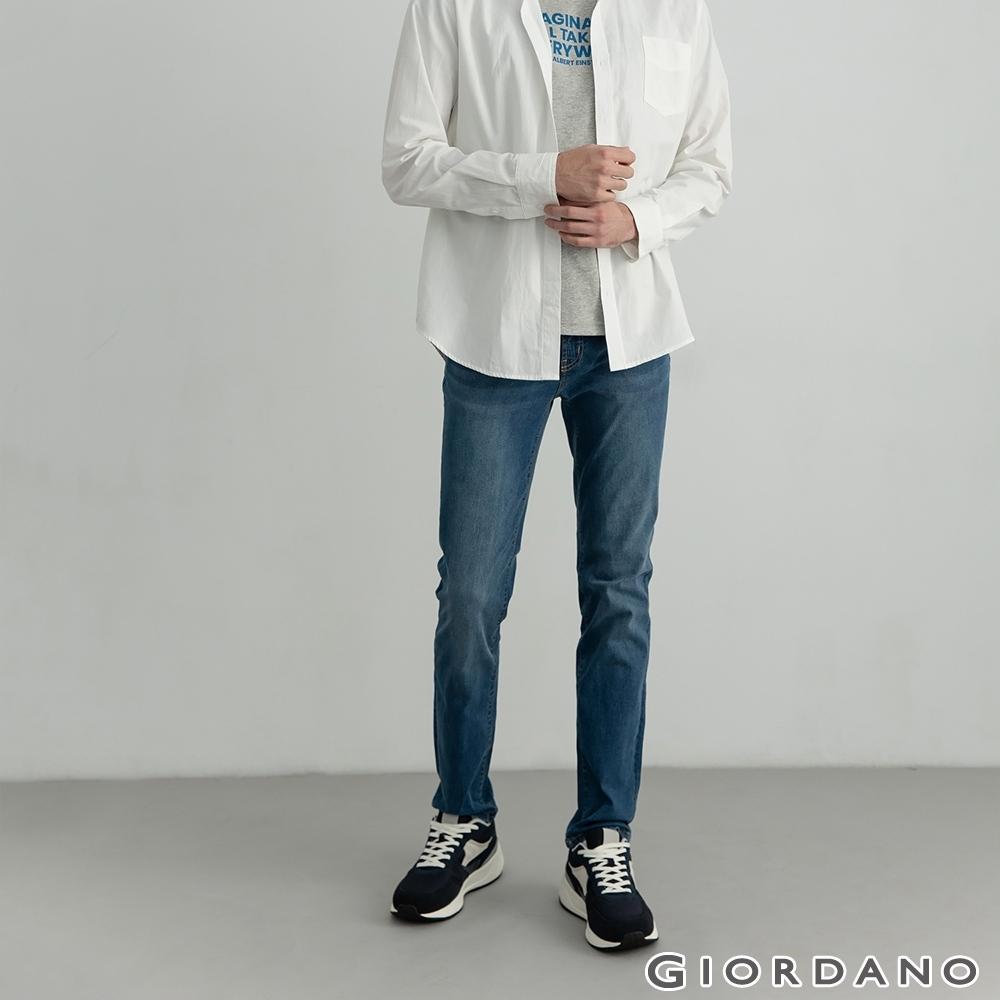 GIORDANO 男裝超彈力中腰錐形牛仔褲 - 13 中藍