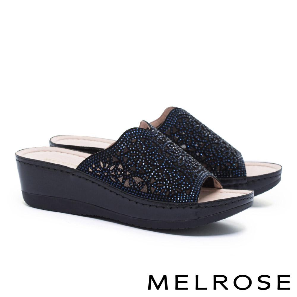 拖鞋 MELROSE 晶鑽雕花鏤空真皮厚底拖鞋-黑