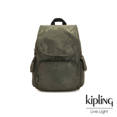 Kipling 迷彩緞灰拉鍊掀蓋後背包-CITY PACK
