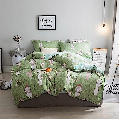 BUNNY LIFE 童話風舒柔床包被套組-雙人-仙人掌綠