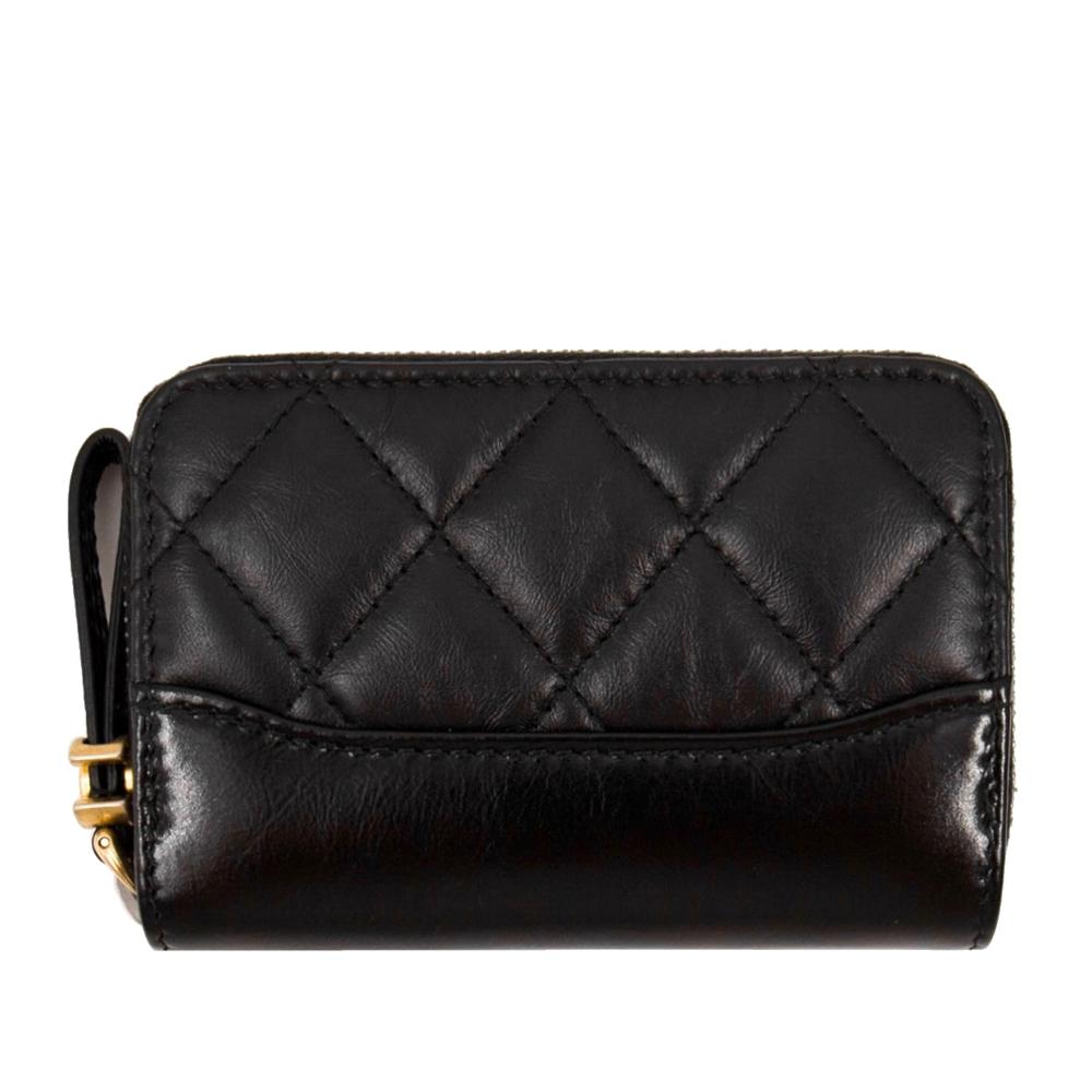 CHANEL 經典流浪包款 拉鍊零錢包/卡包 (黑色 x 復古小牛皮 x 雙C復古金屬) Gabrielle