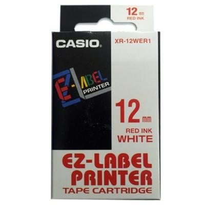 CASIO 標籤機專用色帶-12mm【共有<b>9</b>色】白底紅字-XR-12WER1