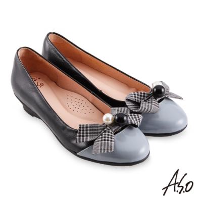 A.S.O 職場通勤 健步通勤甜美飾扣娃娃鞋-黑