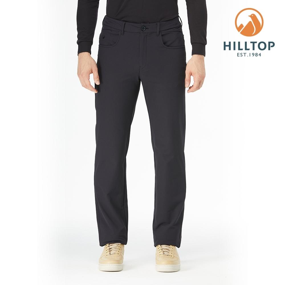 【hilltop山頂鳥】男款超潑水彈性保暖長褲H31MM1魚子醬黑