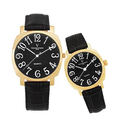 Valentino Coupeau 范倫鐵諾 古柏 萊茵對錶 金色殼 黑面 黑皮帶