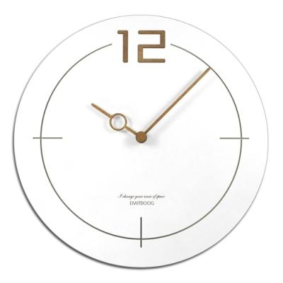簡約時尚現代居家 木質 餐廳客廳臥室靜音 圓掛鐘-白色 / 12吋