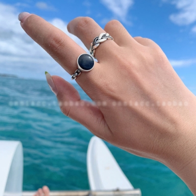 梨花HaNA 韓國復古泰銀黑晶石酷味代表戒指