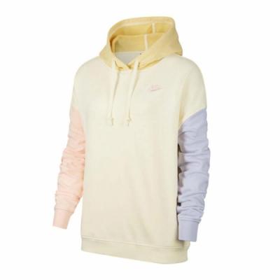 Nike 帽T NSW Po Hoodie Pastel 女款 運動休閒 連帽上衣 拼接 撞色 粉嫩 黃 紫 DJ5483156