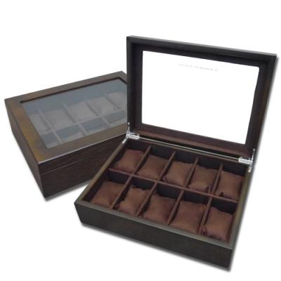 低調奢華 手錶收藏盒 配件收納 腕錶收藏盒 10入收藏 實木質感 - 深木褐色