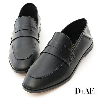 D+AF 百搭主角.經典款後踩式二穿樂福鞋*黑