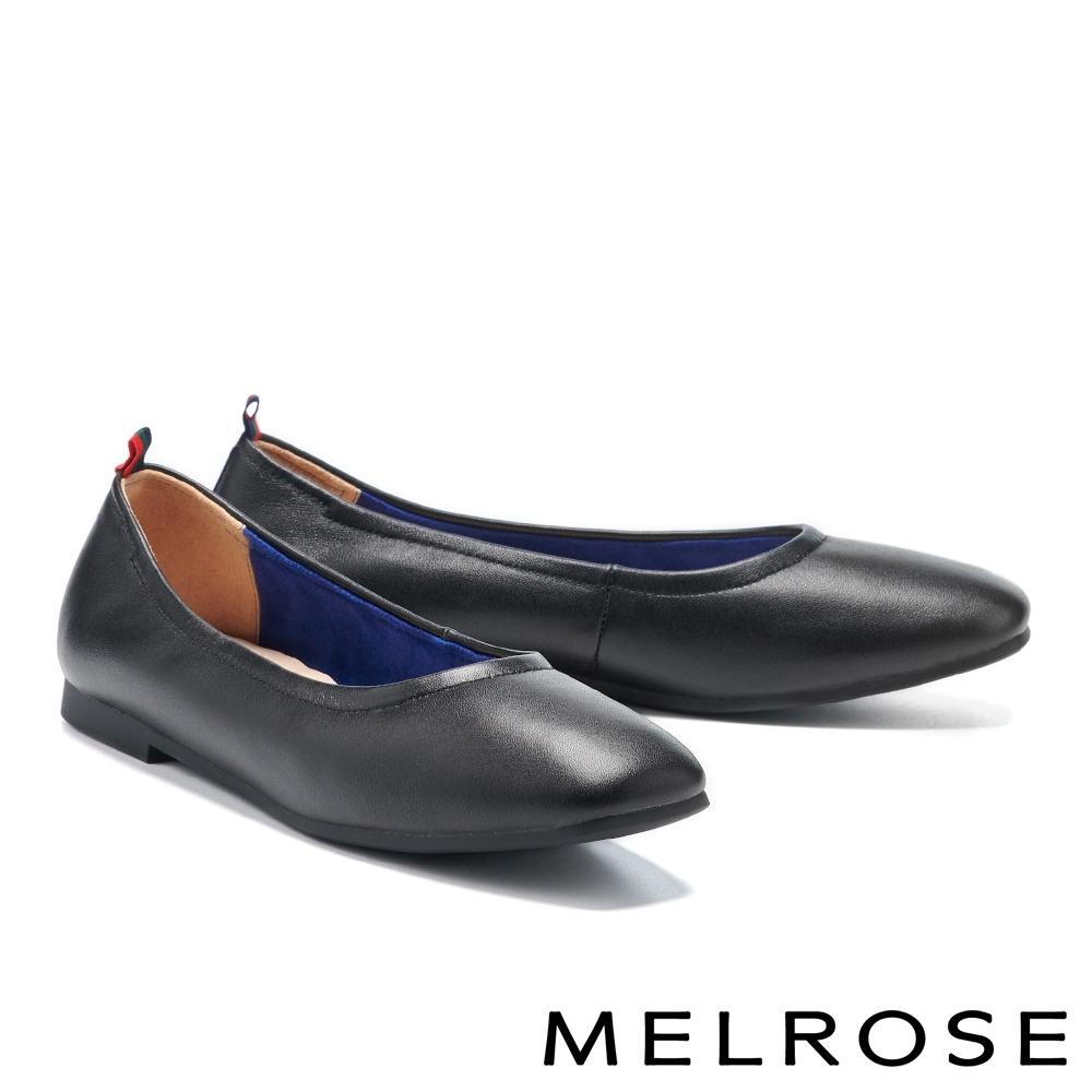 平底鞋 MELROSE 質感舒適真皮純色方頭平底鞋-黑