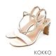 KOKKO 獨特魅力異材拼接方頭細帶涼拖鞋 椰奶白 product thumbnail 1
