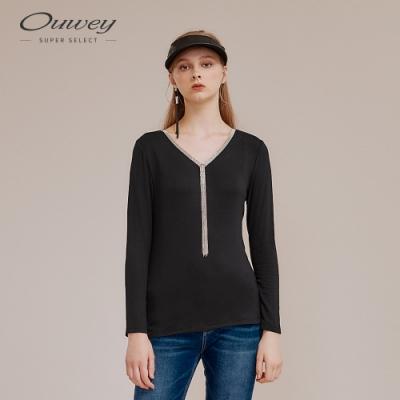 OUWEY歐薇 簡約金屬V領內刷毛垂墜風上衣(黑)