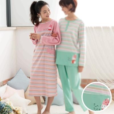 華歌爾睡衣 M-LL 長袖裙裝家居服(綠)