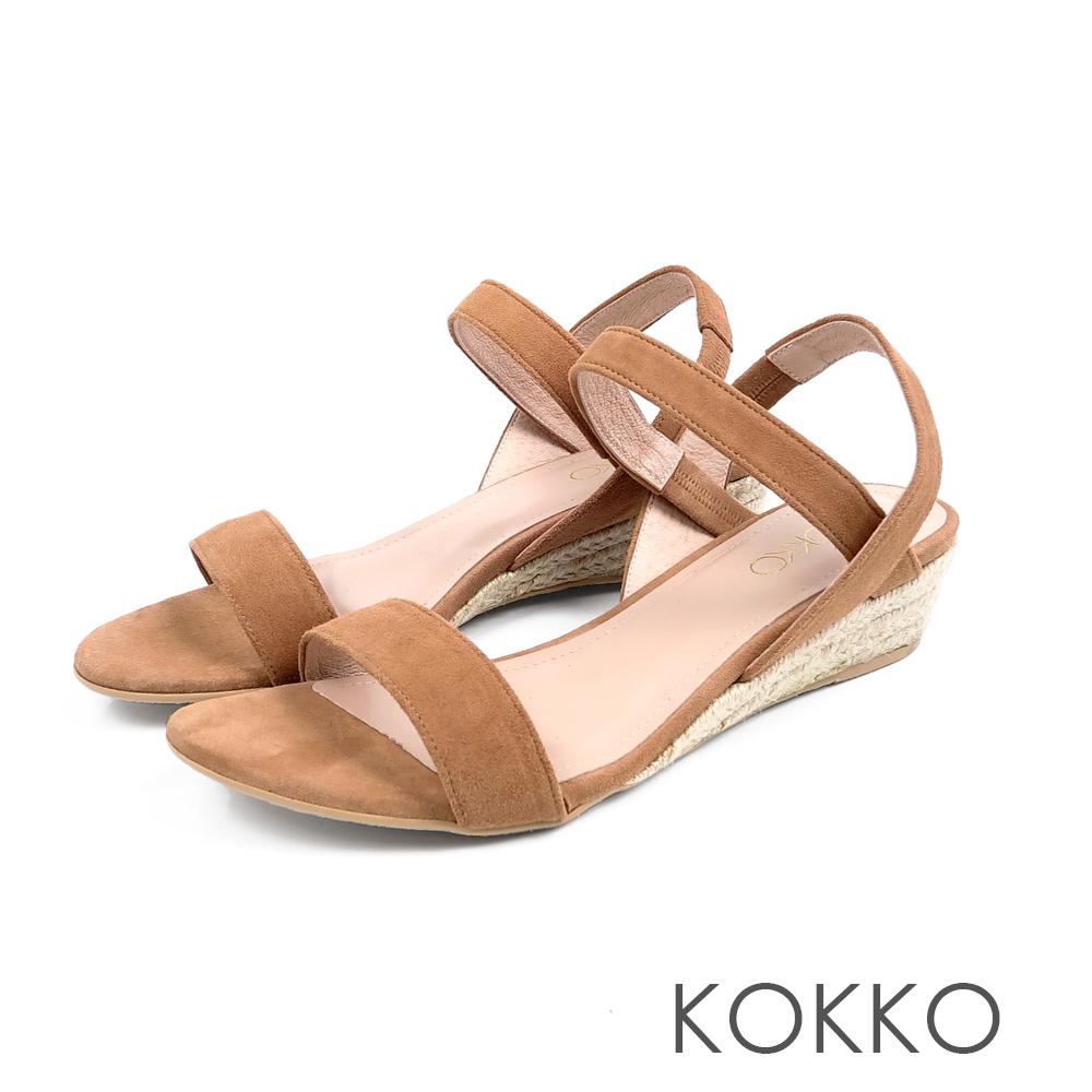 KOKKO - 歐膩時尚羊麂皮後帶楔型涼鞋 - 楓糖棕