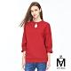 麥雪爾 MA高含棉綴珍珠純色圓領七分袖上衣-紅 product thumbnail 1