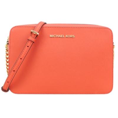 MICHAEL KORS JET SET ITEM金字LOGO防刮皮革方型斜背包-橘紅
