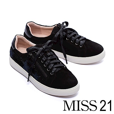休閒鞋 MISS 21 水鑽星空全真皮拼接綁帶厚底休閒鞋-黑