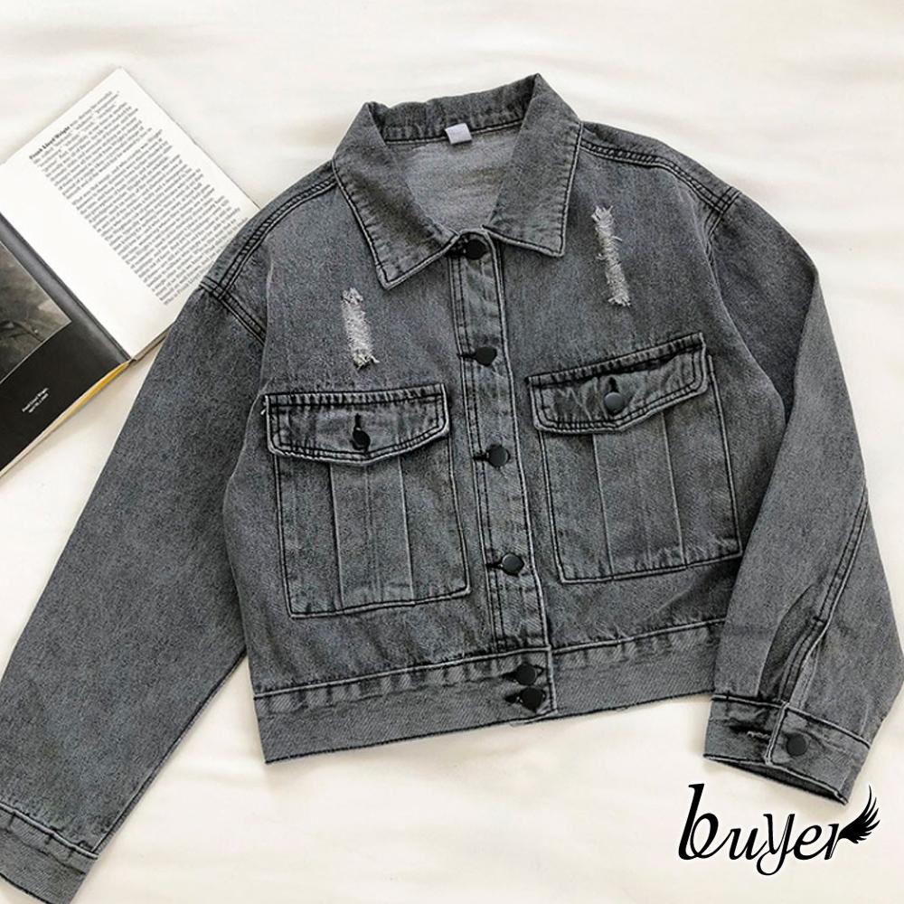 【白鵝buyer】丹寧 韓風挺版質感牛仔外套(黑色)