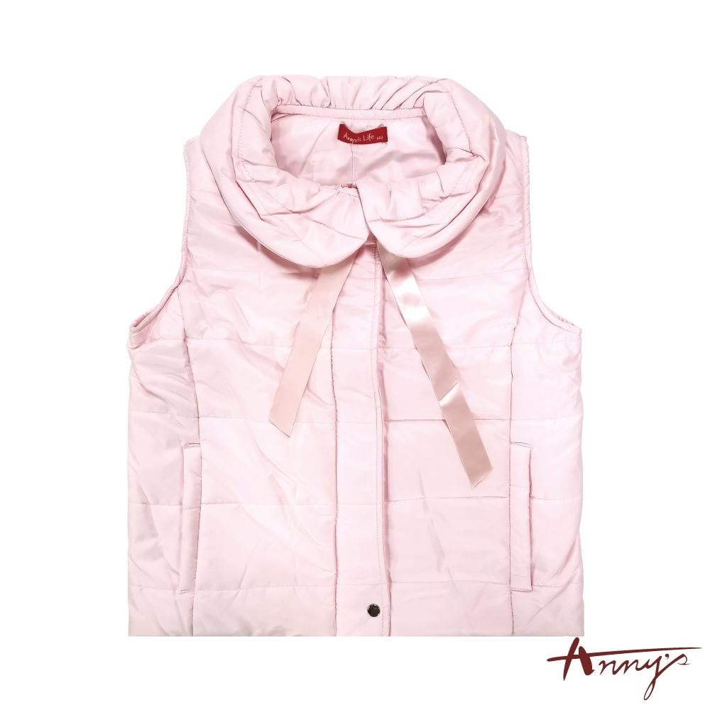 Annys安妮公主-氣質可愛百搭舒適保暖蝴蝶結鋪棉背心*1464粉紅