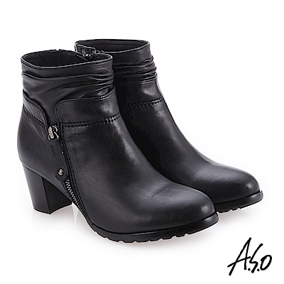 A.S.O 簡約風格 精緻質感真皮短靴 黑