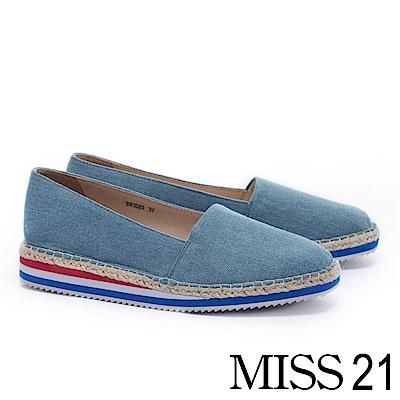 厚底鞋 MISS 21 活潑彩虹底設計草編厚底鞋-藍