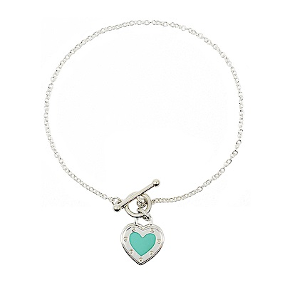 Tiffany&Co. Return to Tiffany藍色琺瑯愛心刻字心型鎖頭純銀手鍊