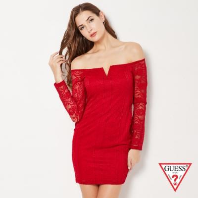 GUESS-女裝-蕾絲拼接平口洋裝-紅