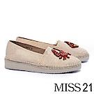 厚底鞋 MISS 21 創意爆棚不對稱裝飾草編厚底鞋-粉