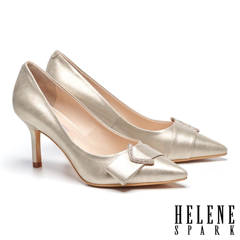 高跟鞋 HELENE SPARK 高雅奢華ㄑ字鑽釦尖頭美型高跟鞋-金