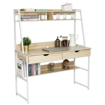 樂嫚妮 書桌/工作桌/雙抽屜/多層收納功能型書桌-楓櫻木-寬120深48高138cm