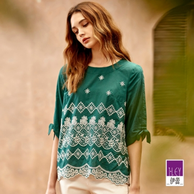 ILEY伊蕾 純棉民俗風刺繡綁帶上衣(綠)1211021001