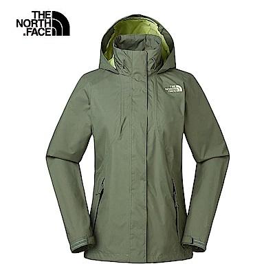 The North Face北面女款綠色防水透氣連帽衝鋒衣 3VPRZCE