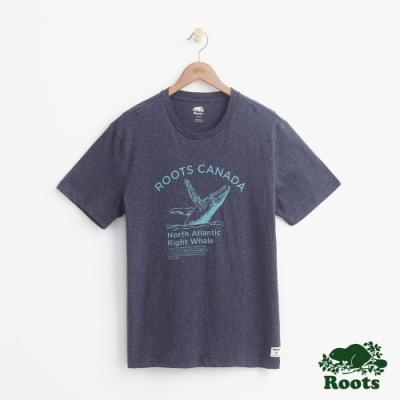 男裝Roots 動物系列短袖T恤-藍
