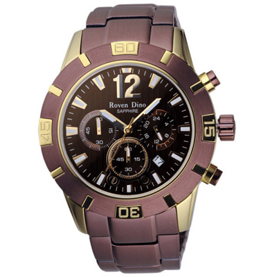Roven Dino羅梵迪諾 突擊風暴三眼時尚腕錶-咖啡X金