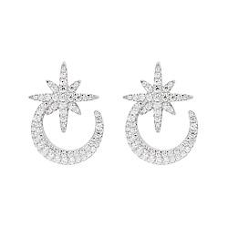 apm MONACO法國精品珠寶 閃耀銀色鑲鋯一千零一夜星月 愛心耳扣 耳針式耳環