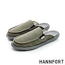 HANNFORT COZY可機洗平織布氣墊拖鞋-男-軍裝綠8H